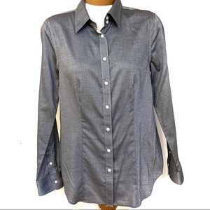 Talbots Grey 100% Cotton Wrinkle Resistant Blouse